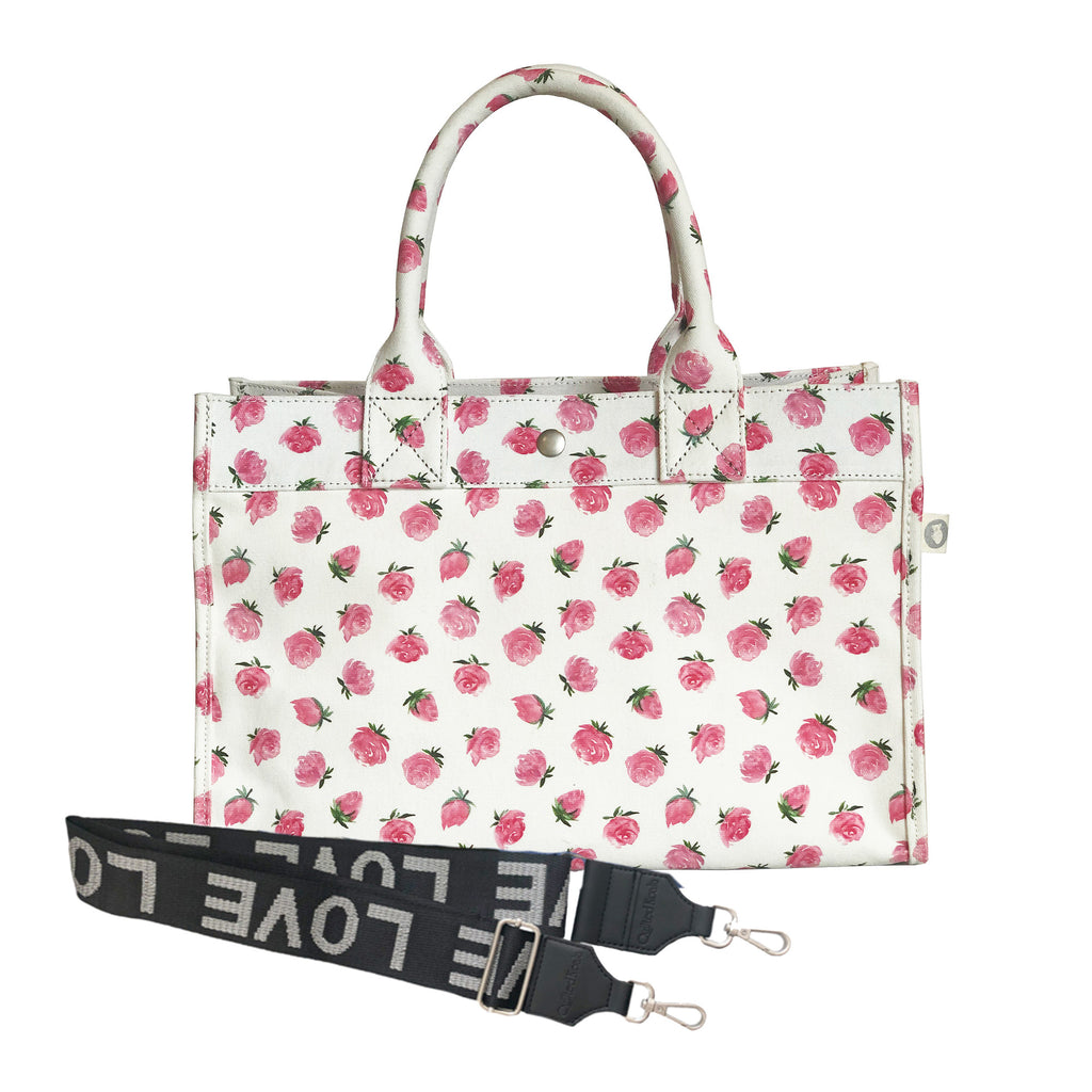 Split Letter Monogram: Midi East West Bag White Floral