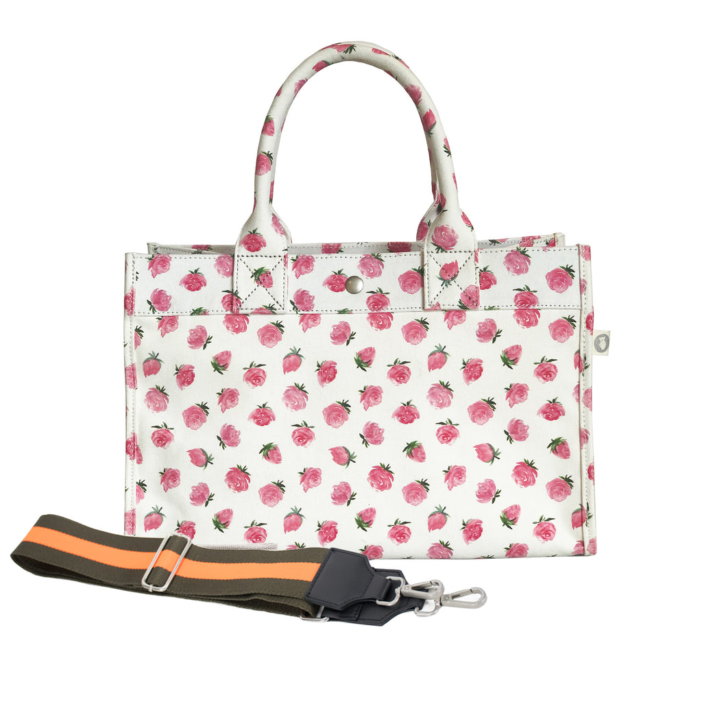 Monogram Stripe: Midi East West Bag White Floral