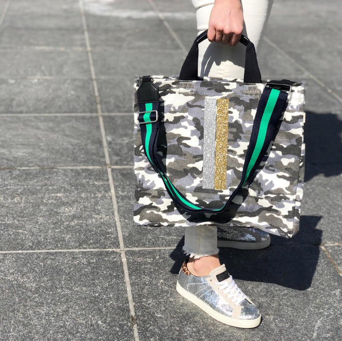Grey Camo Luxe North South Bag with Silver & Gold Stripe and  Green & Navy Strap