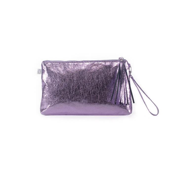 Luxe Metallic Clutch with Wristlet: Purple