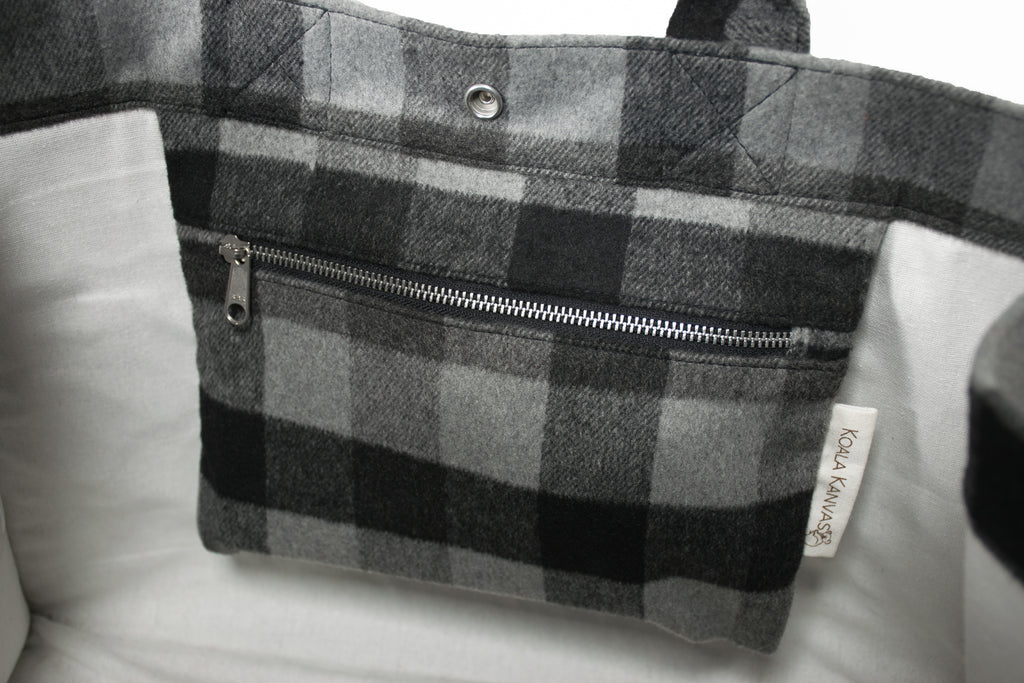 East West Bag: Grey Flannel Plaid