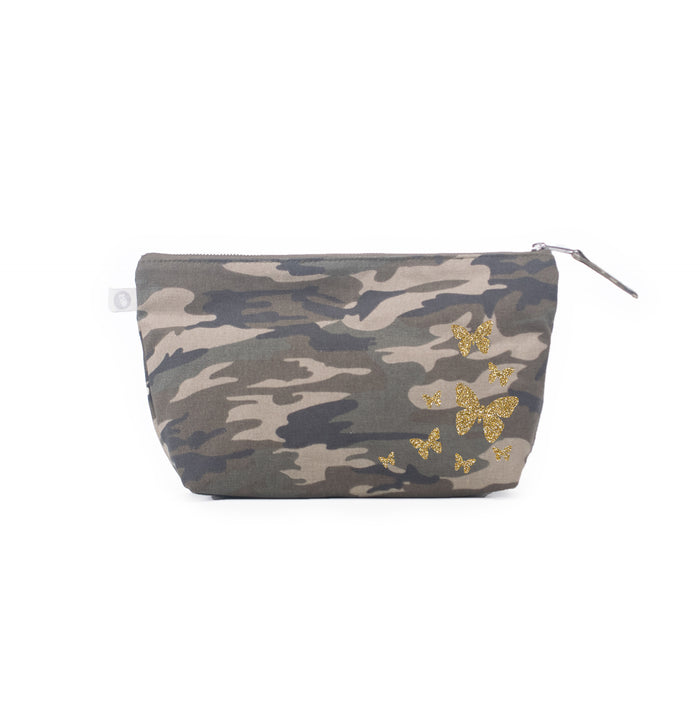 Clutch Bag Green Camo with Gold Glitter Scatter Butterflies