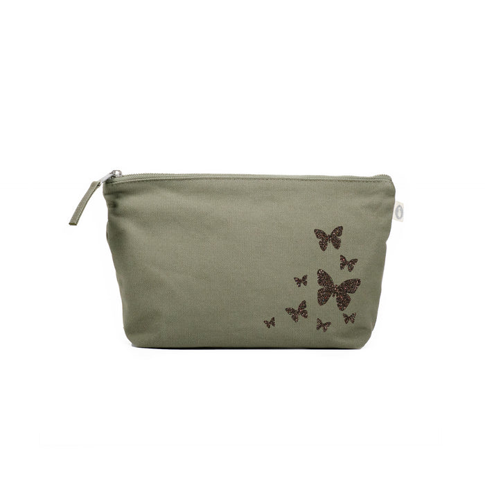 Clutch Bag Olive with Chocolate Glitter Scatter Butterflies