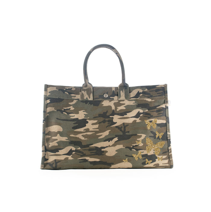 East West Bag: Green Camo with Gold Glitter Scatter Butterflies