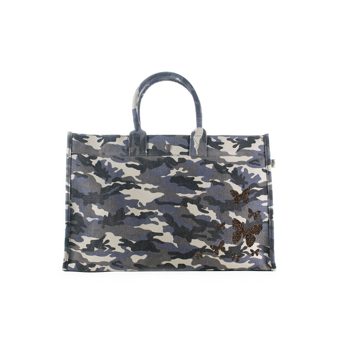 East West Bag: Grey Camo with Chocolate Glitter Scatter Butterflies