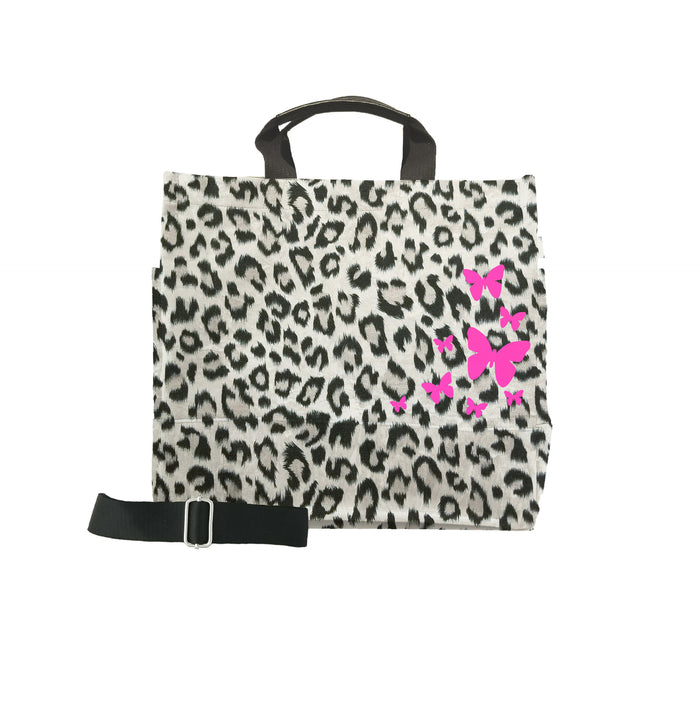 Leopard Luxe North South Bag with Neon Pink Scatter Butterflies