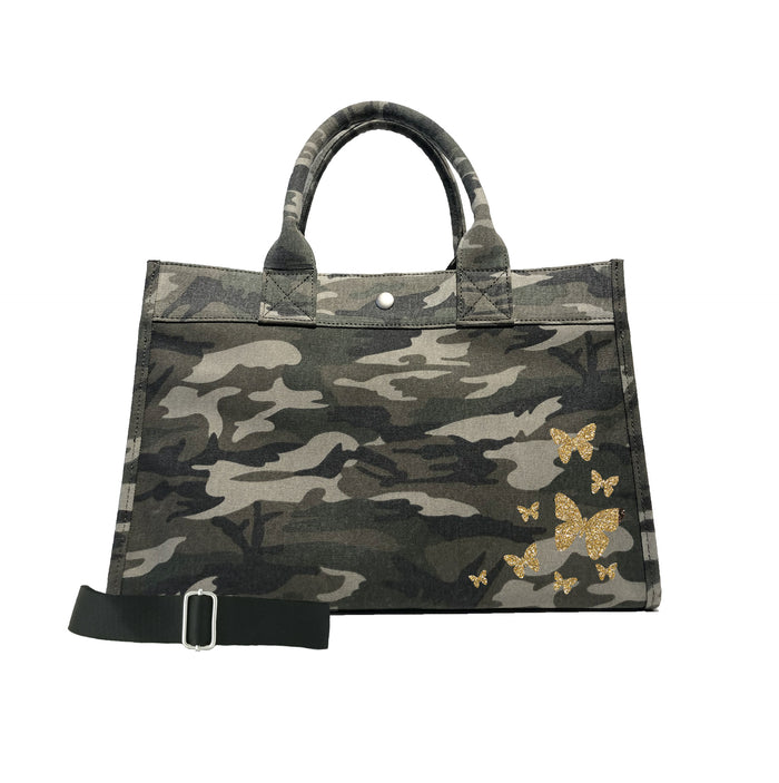 Midi East West Bag: Green Camo with Gold Glitter Scatter Butterflies
