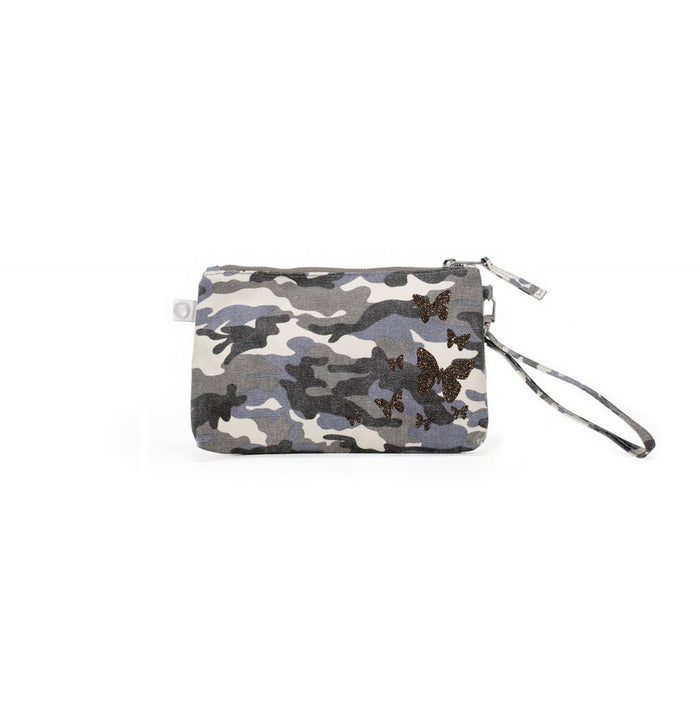 Mini Luxe Clutch Grey Camo with Chocolate Glitter Scatter Butterflies