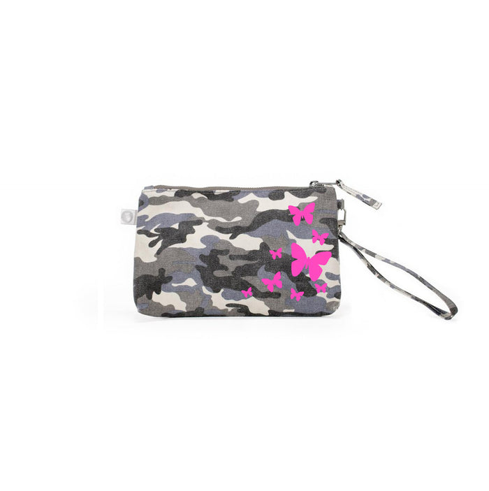 Mini Luxe Clutch Grey Camo with Neon Pink Scatter Butterflies