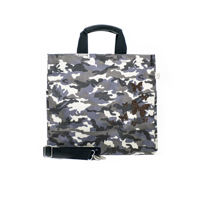 Grey Camo Luxe North South Bag with Chocolate Glitter Scatter Butterflies