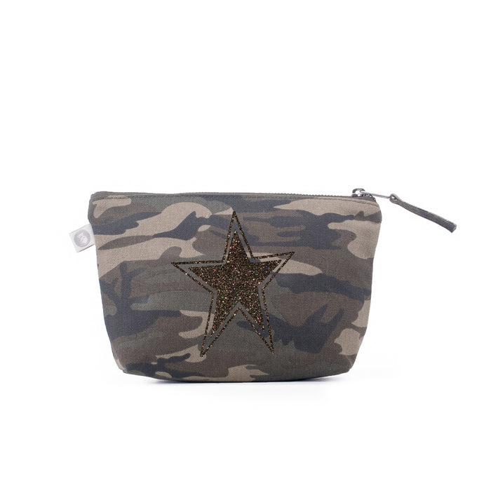 Makeup Bag Green Camo with Chocolate Glitter Star