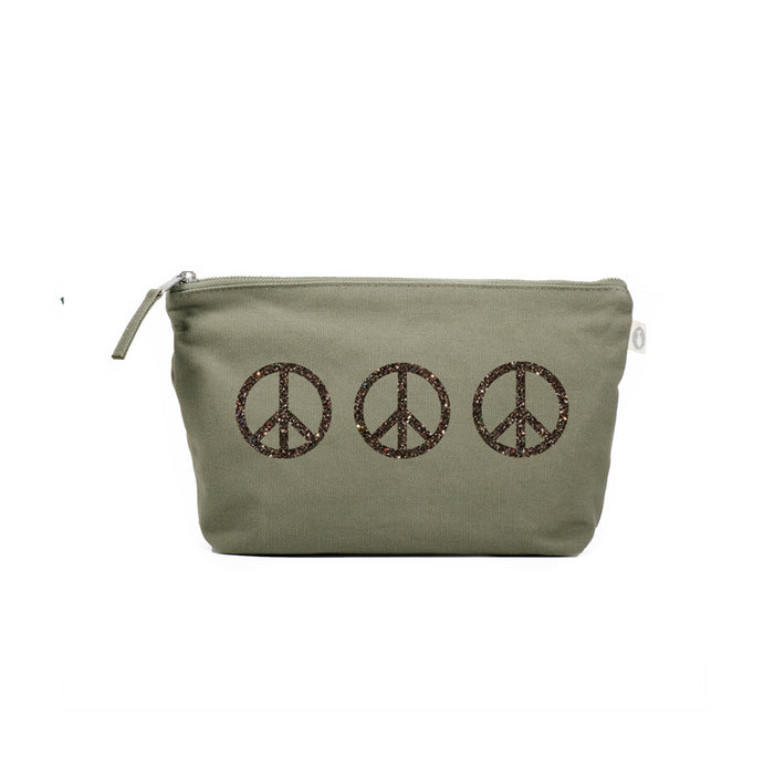 Clutch Bag Olive with Chocolate Glitter 3 Peace