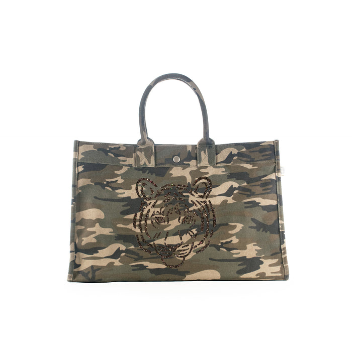East West Bag: Green Camo with Chocolate Glitter Tiger