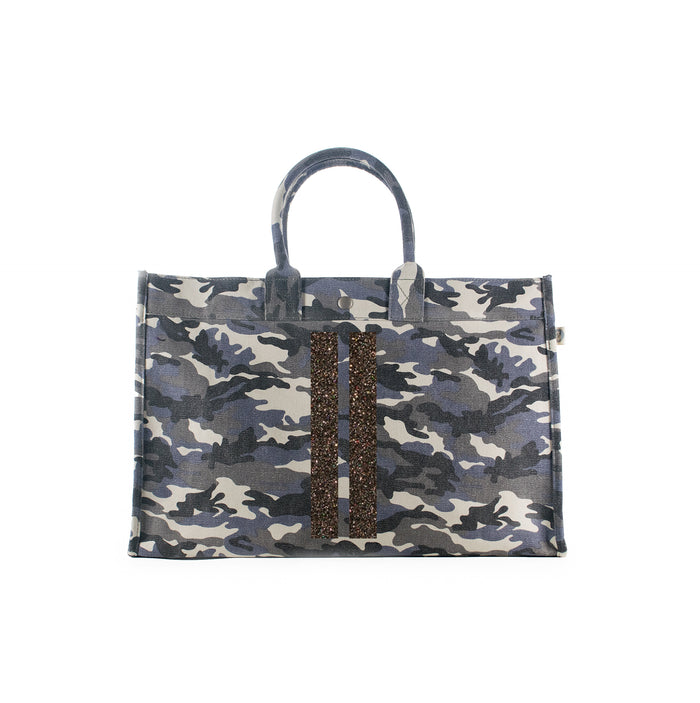 East West Bag: Grey Camo with Chocolate Glitter Double Stripes
