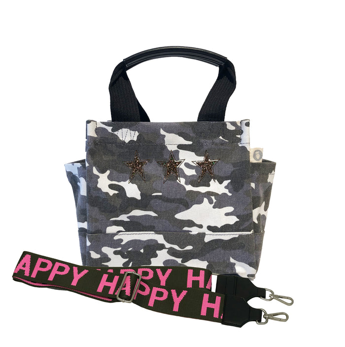 Mini Luxe North South Dark Grey Camouflage Chocolate Glitter 3 Mini Stars & Pink/Olive HAPPY Strap