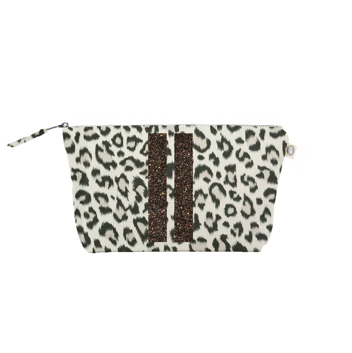Clutch Bag Leopard with Chocolate Glitter Double Stripes