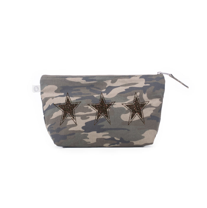Clutch Bag Green Camo with Chocolate Glitter 3 Stars