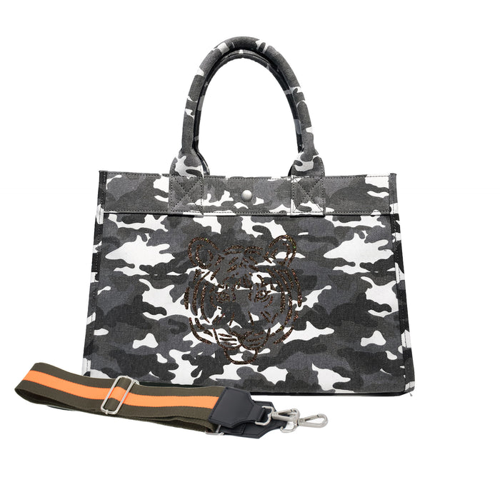 Midi East West Bag: Grey Camouflage with Chocolate Glitter Tiger & Olive/Orange Stripe Strap