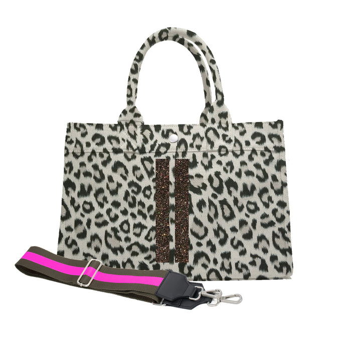 Midi East West Bag: Leopard with Chocolate Glitter Double Stripe & Olive/Pink Stripe Strap