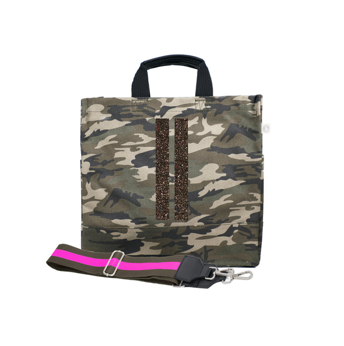 Green Camo Luxe North South Bag with Chocolate Glitter Double Stripes and Olive/Pink Stripe Strap