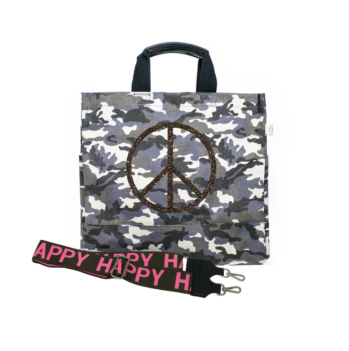 Grey Camo Luxe North South Bag with Chocolate Glitter Jumbo Peace and Olive/Pink HAPPY Stripe Strap