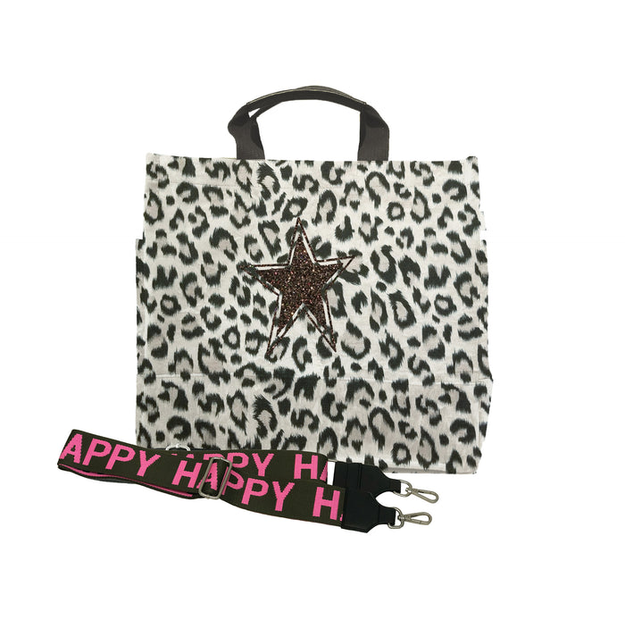 Leopard Luxe North South Bag with Chocolate Glitter Star and Olive/Pink HAPPY Stripe Strap