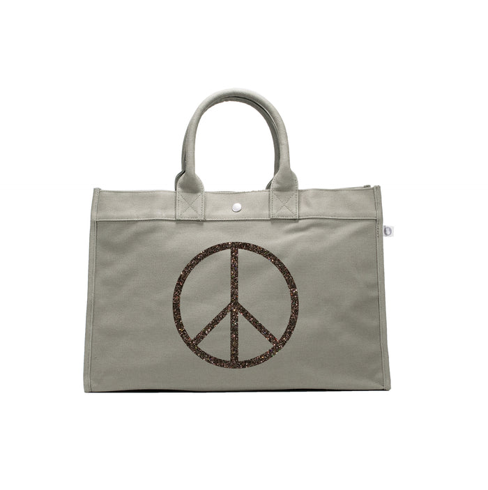 East West Bag: Olive with Chocolate Glitter Jumbo Peace