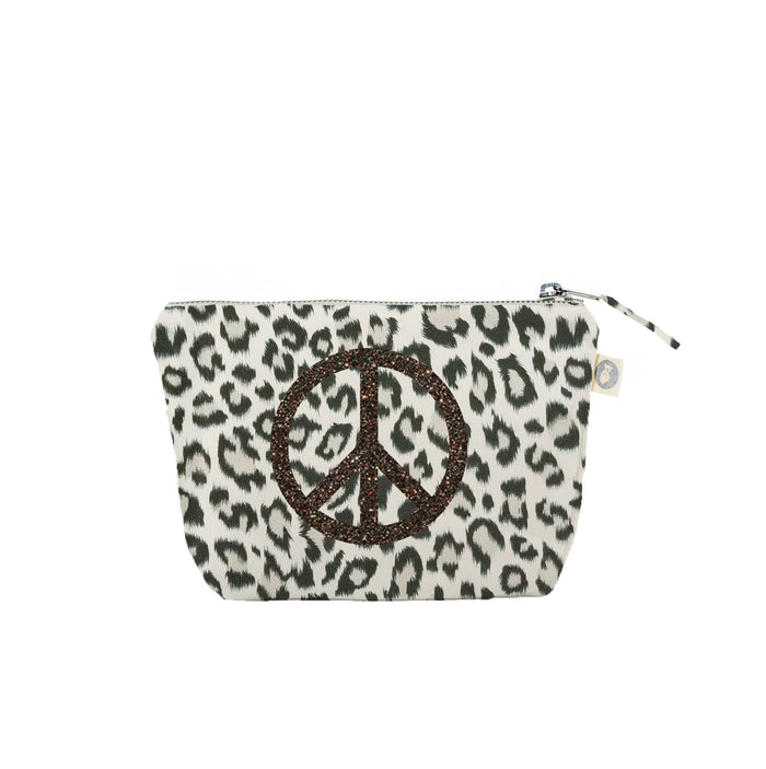 Makeup Bag Leopard with Chocolate Glitter Peace Sign