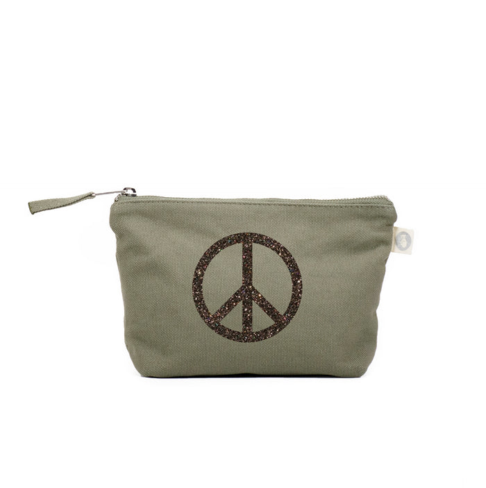 Makeup Bag Olive with Chocolate Glitter Peace Sign