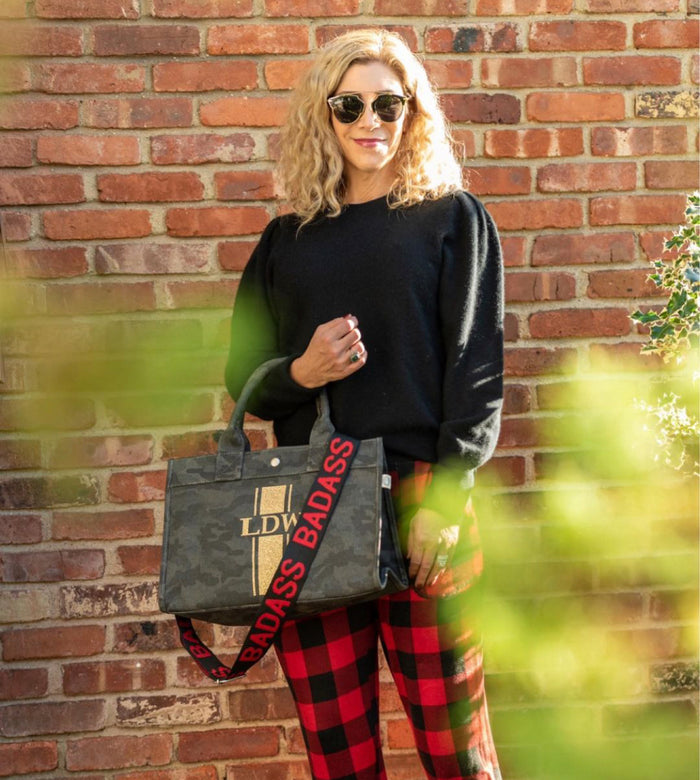 Midi East West Bag: Black Camouflage with Gold Glitter Monogram Stripe &  BADASS Strap