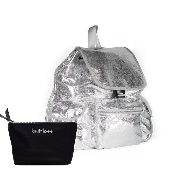 Sporty Gift Bundle: Silver Metallic Backpack + Black Makeup Bag with Silver Glitter Fearless