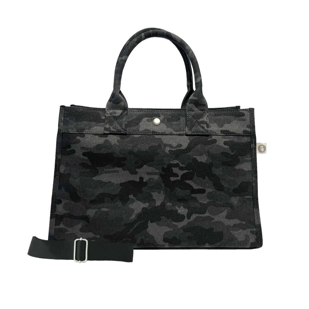 Monogram Stripe Midi East West Bag: Black Camouflage