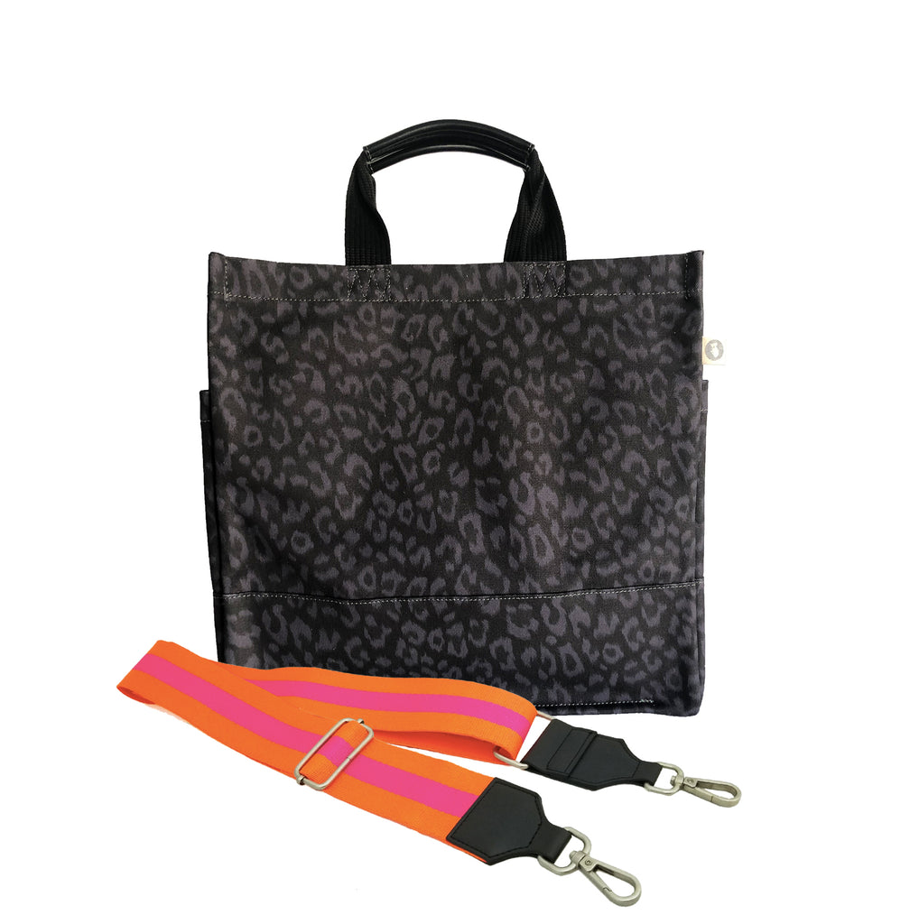 Monogram Stripe: Luxe North South Bag- Black Leopard