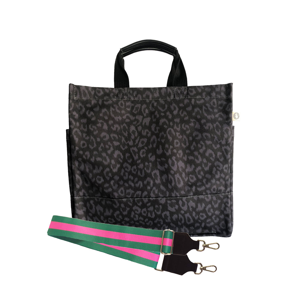 Luxe North South Bag: Black Leopard