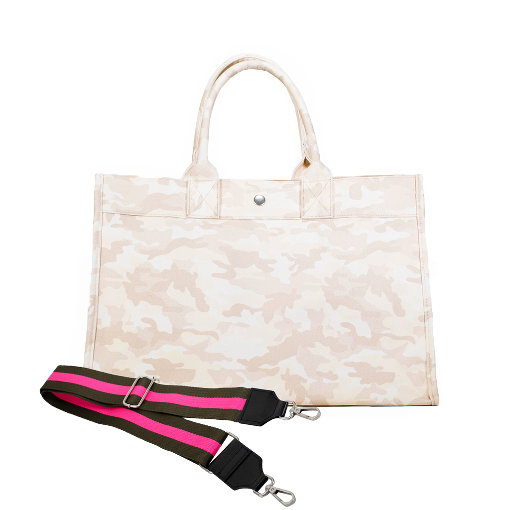 Split Letter Monogram Midi East West Bag: Blush Camouflage