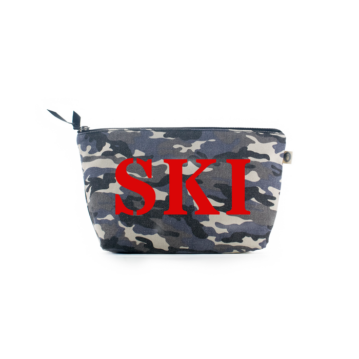 SKI Collection: Clutch Bag Grey Camouflage with Red Matte SKI