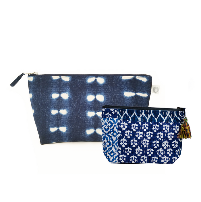 Clutch Bag Blue Shibori with Blue Boho Makeup Bag ($86 value for only $48 with code: FUN48)