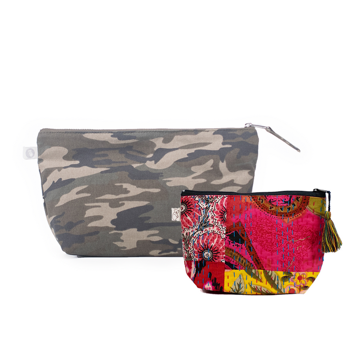 Clutch Bag Green Camo with Bright Multi Boho Makeup Bag ($86 value for only $48 with code: FUN48)