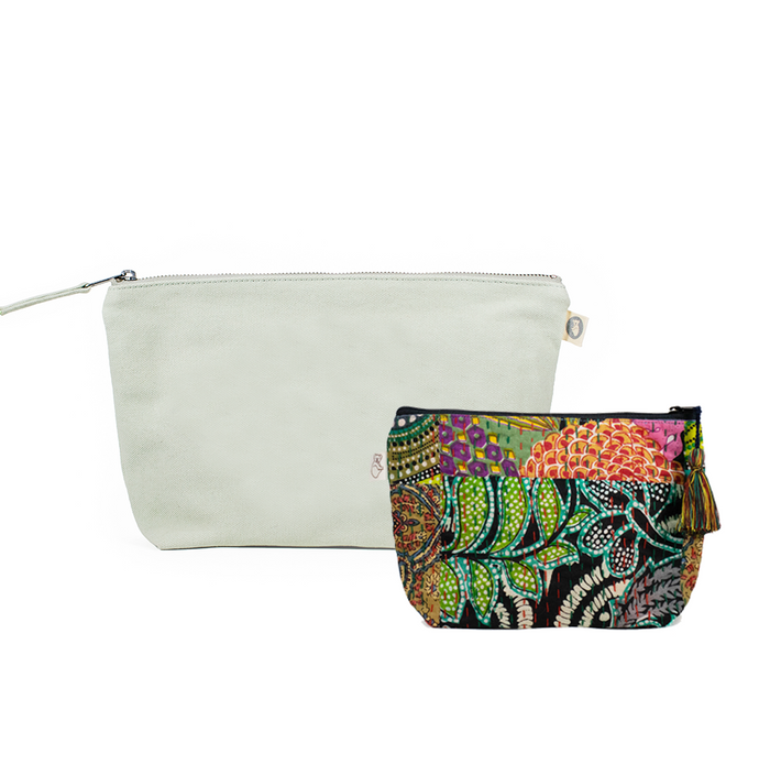Clutch Bag Seaglass Green with Dark Multi Boho Makeup Bag ($86 value for only $48 with code: FUN48)