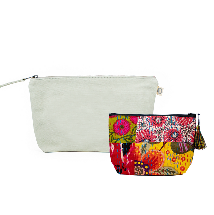 Clutch Bag Seaglass Green with Bright Multi Boho Makeup Bag ($86 value for only $48 with code: FUN48)