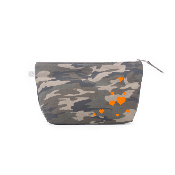 Clutch Bag: Green Camouflage - Orange Matte Scatter Stars