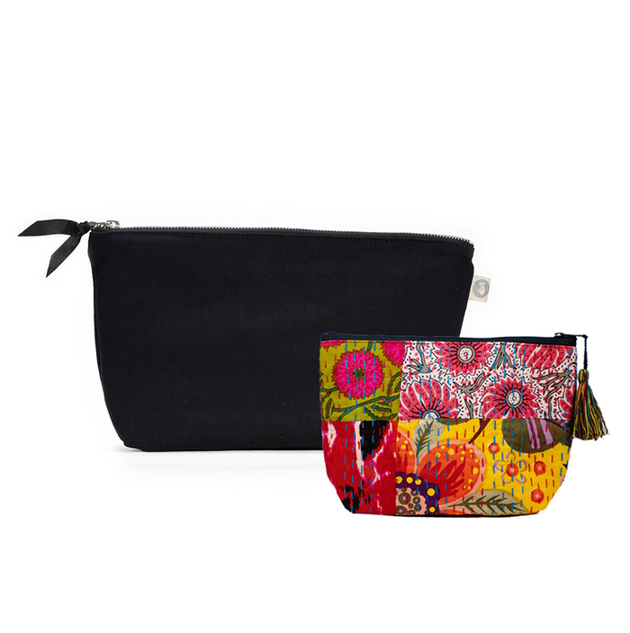 Clutch Bag Black with Bright Multi Boho Makeup Bag ($86 value for only $48 with code: FUN48)