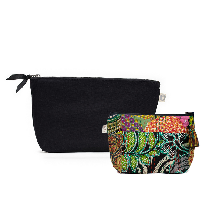 Clutch Bag Black with Dark Multi Boho Makeup Bag ($86 value for only $48 with code: FUN48)