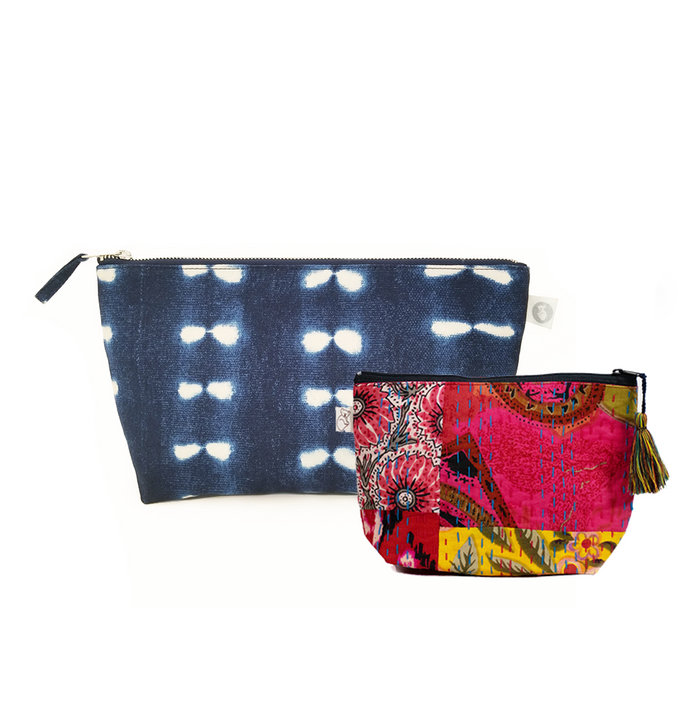 Clutch Bag Blue Shibori with Bright Multi Boho Makeup Bag ($86 value for only $48 with code: FUN48)