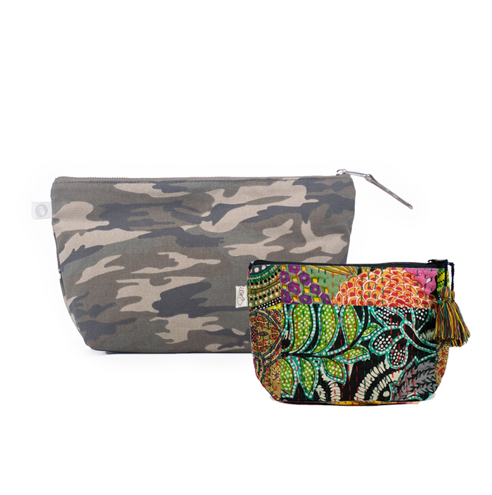 Clutch Bag Green Camo with Dark Multi Boho Makeup Bag ($86 value for only $48 with code: FUN48)