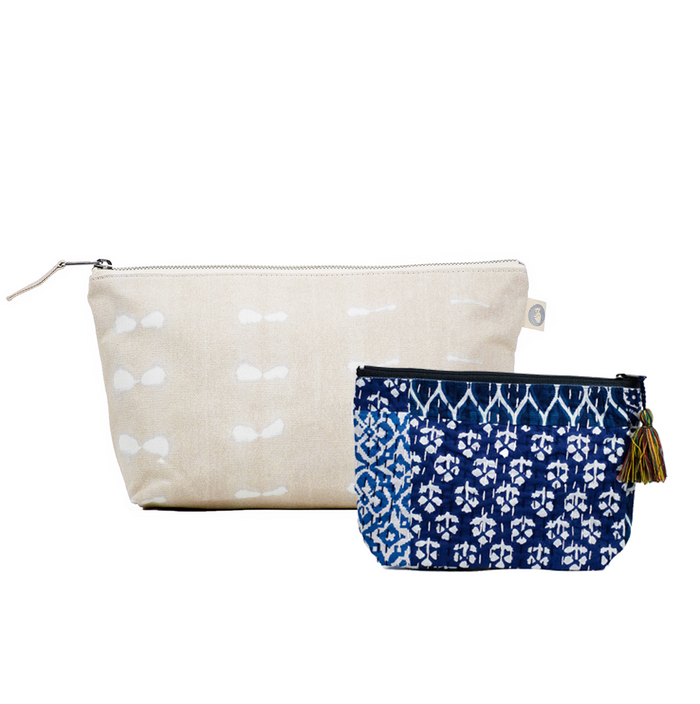 Clutch Bag Stone Shibori with Blue Boho Makeup Bag ($86 value for only $48 with code: FUN48)
