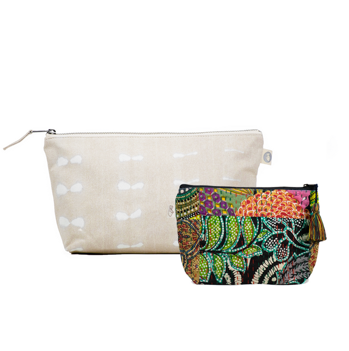 Clutch Bag Stone Shibori with Dark Multi Boho Makeup Bag ($86 value for only $48 with code: FUN48)