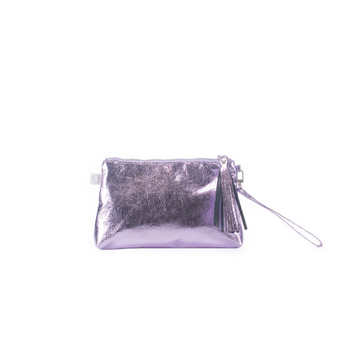 Mini Luxe Metallic Clutch with Wristlet: Purple