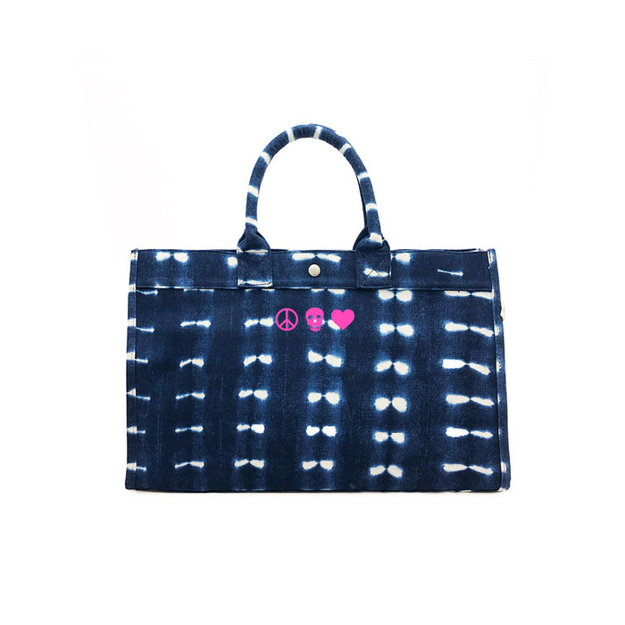 East West Bag: Blue Shibori with Neon Pink Mini Peace/Skull/Heart