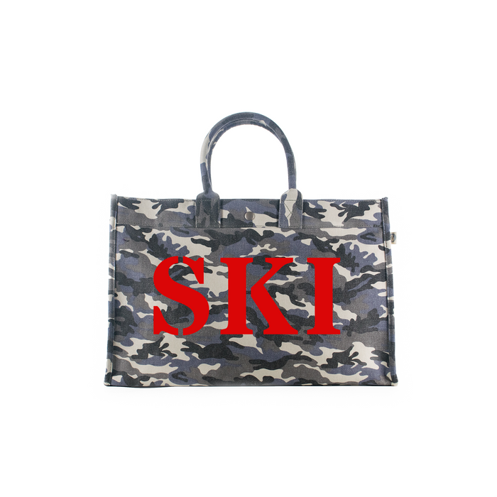 SKI Collection: East-West Bag Grey Camouflage with Red Matte SKI